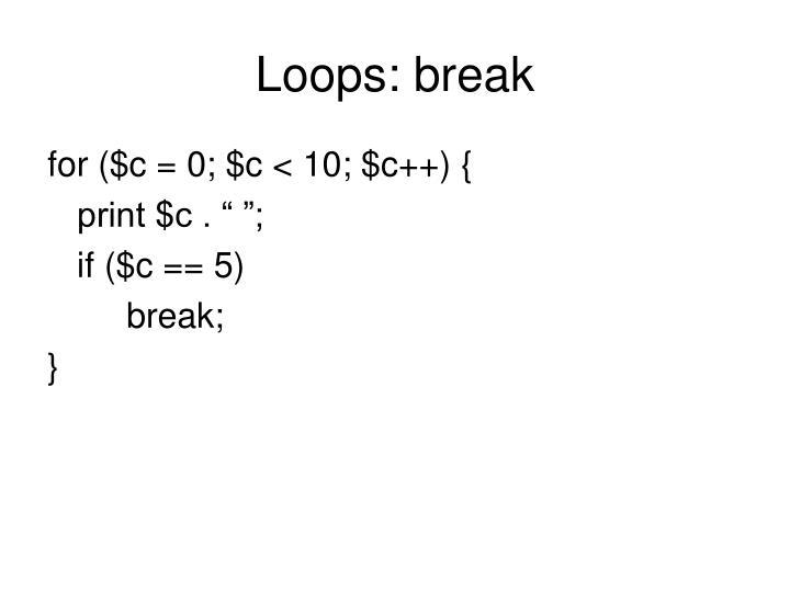 Loops: break