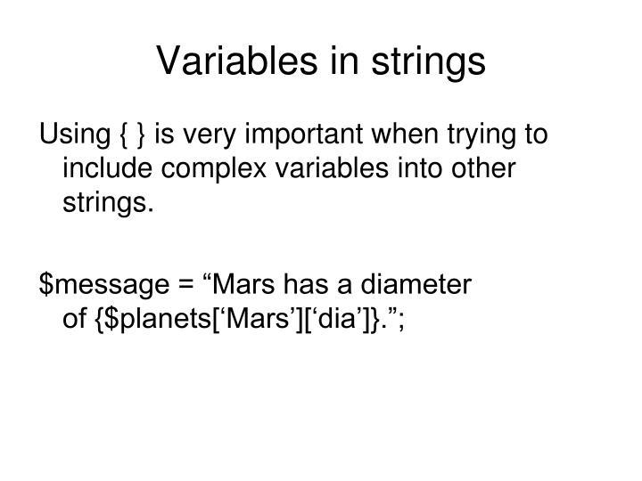 Variables in strings