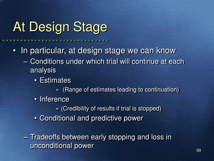 At Design Stage