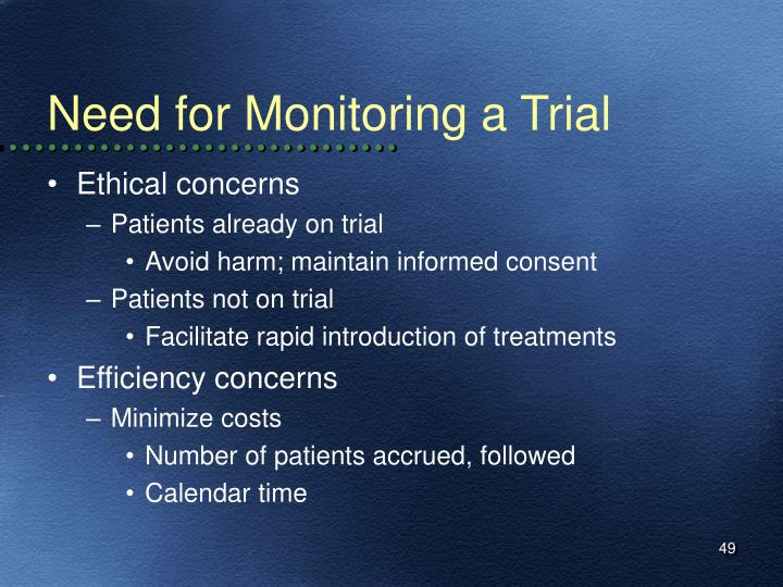 Need for Monitoring a Trial