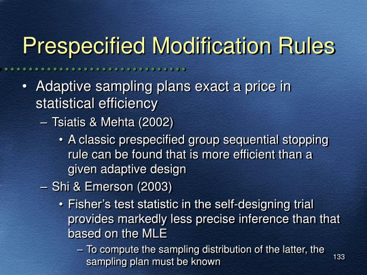 Prespecified Modification Rules