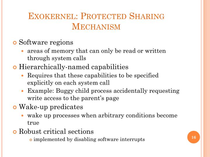 Exokernel: Protected Sharing Mechanism