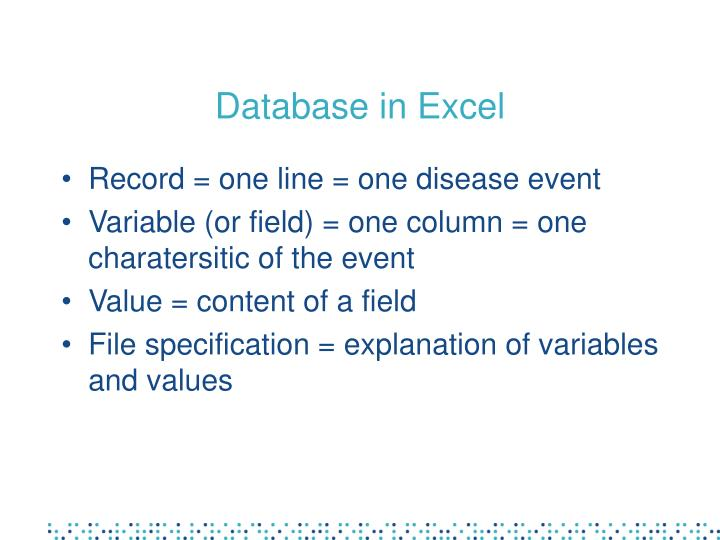 Database in Excel
