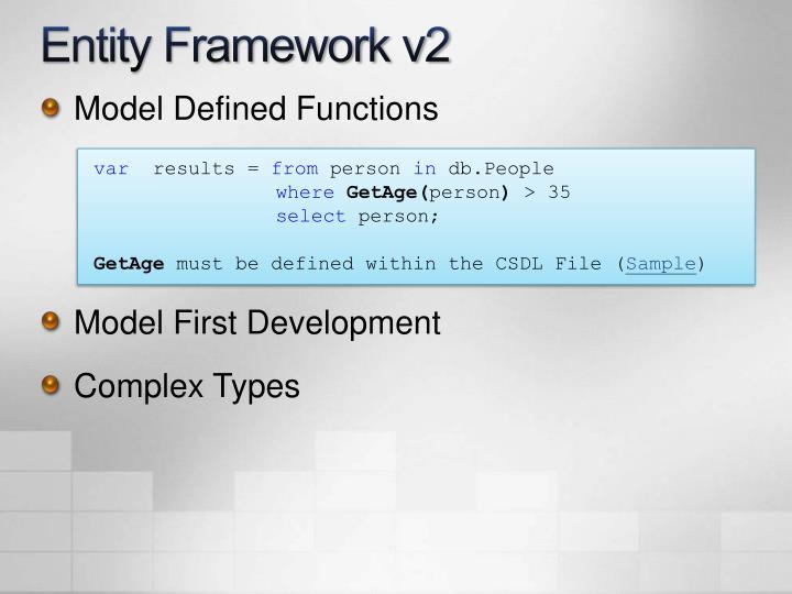 Entity Framework v2