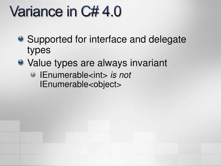 Variance in C# 4.0