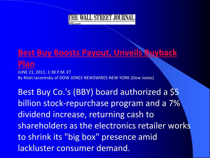 Best Buy Boosts Payout, Unveils Buyback Plan