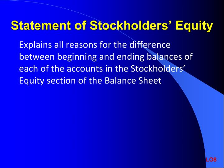Statement of Stockholders' Equity