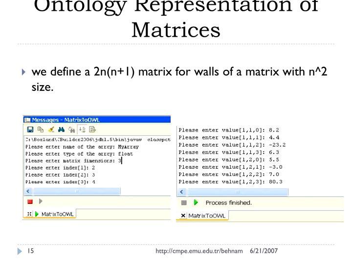 Ontology Representation of Matrices