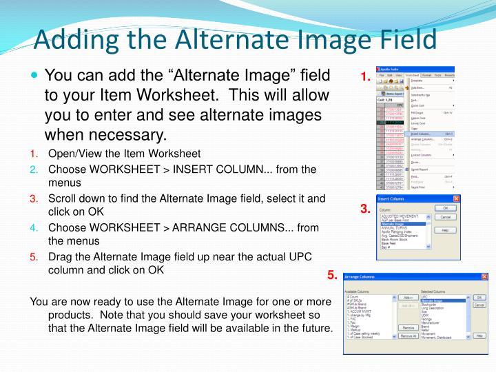 Adding the Alternate Image Field