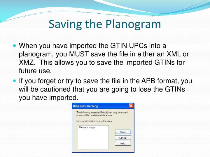 Saving the Planogram