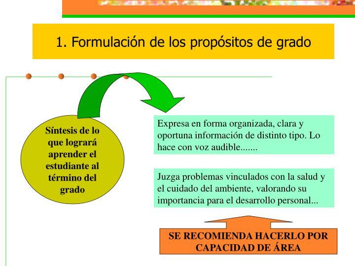 1. Formulación de los propósitos de grado