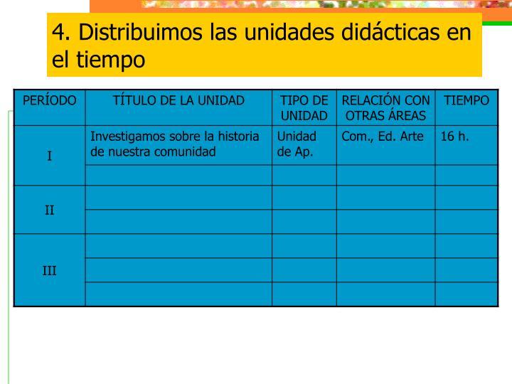 4. Distribuimos las unidades didácticas en el tiempo