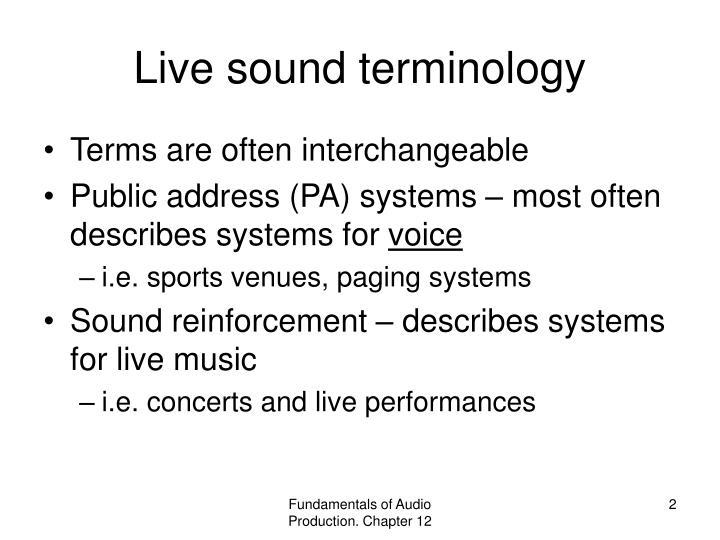 Live sound terminology