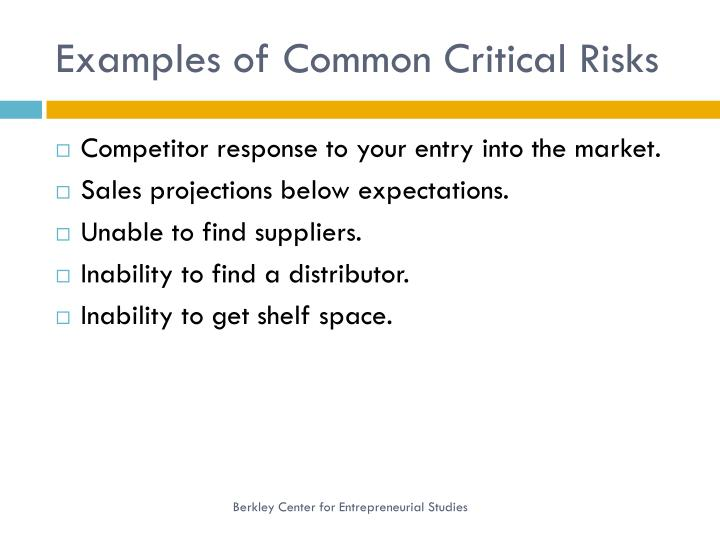 Examples of Common Critical Risks
