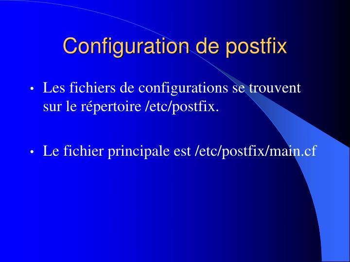 Configuration de postfix