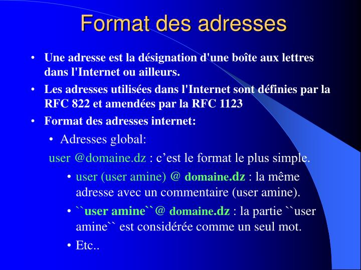 Format des adresses