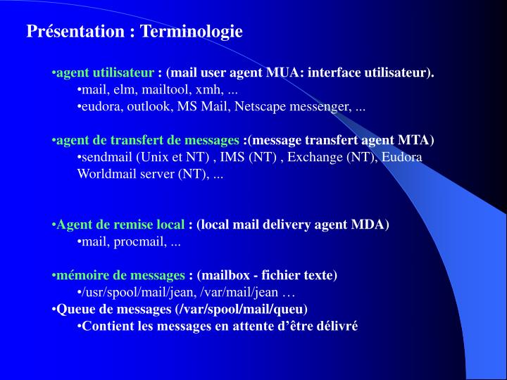 Présentation : Terminologie