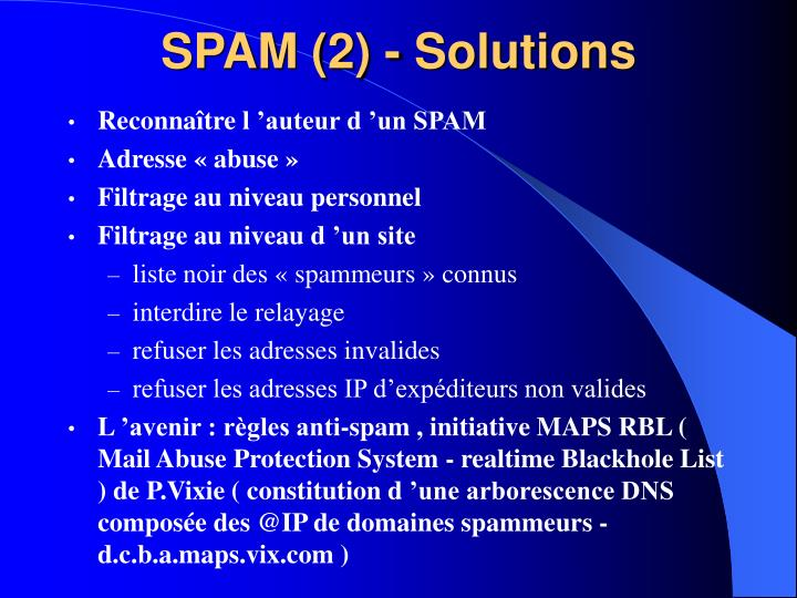 SPAM (2) - Solutions