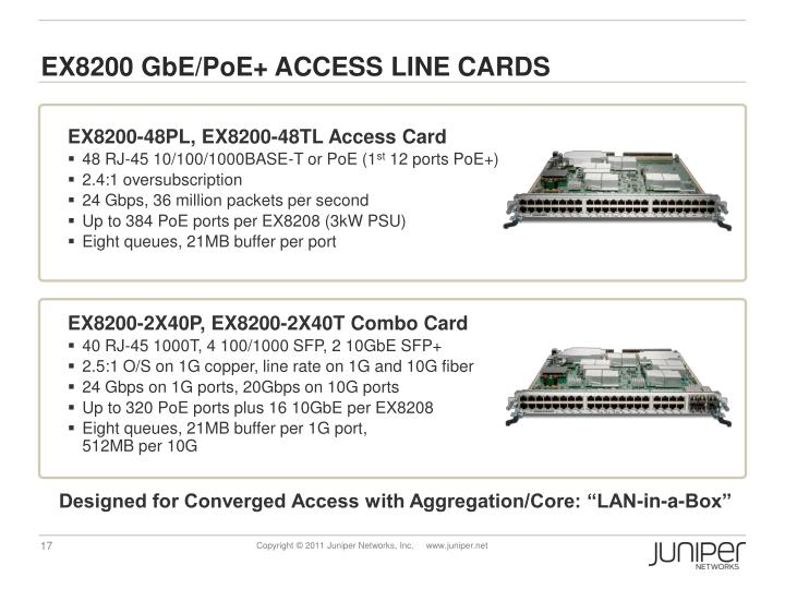 EX8200 GbE/PoE+ ACCESS LINE CARDS