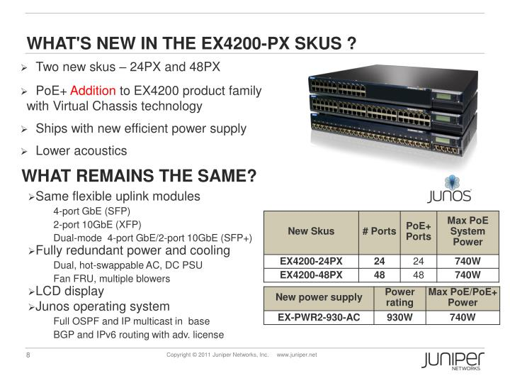 WHAT'S NEW IN THE EX4200-PX SKUS ?