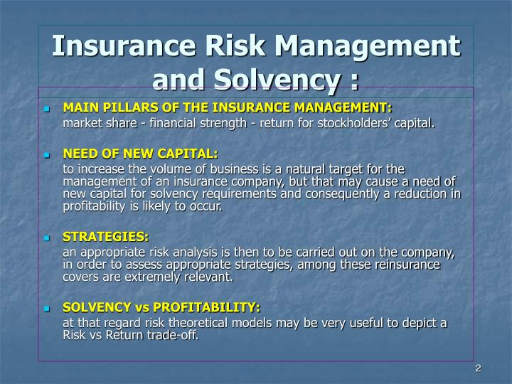 Insurance risk management and solvency