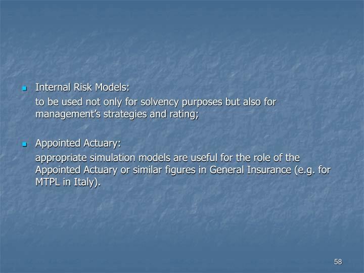 Internal Risk Models: