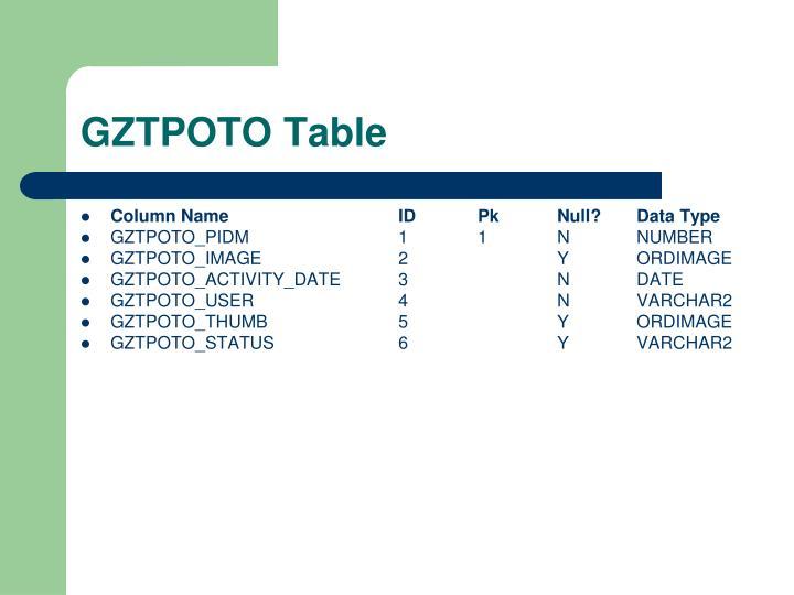 GZTPOTO Table