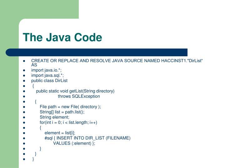 The Java Code