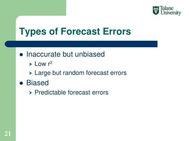 Types of Forecast Errors
