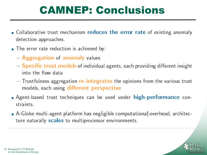 CAMNEP: Conclusions