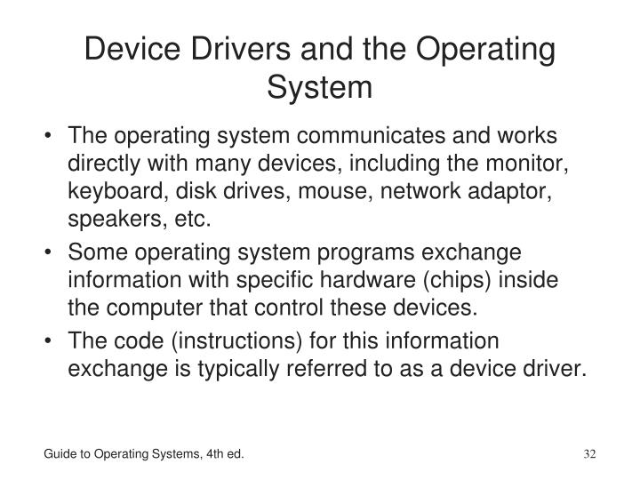 Device Drivers and the Operating System
