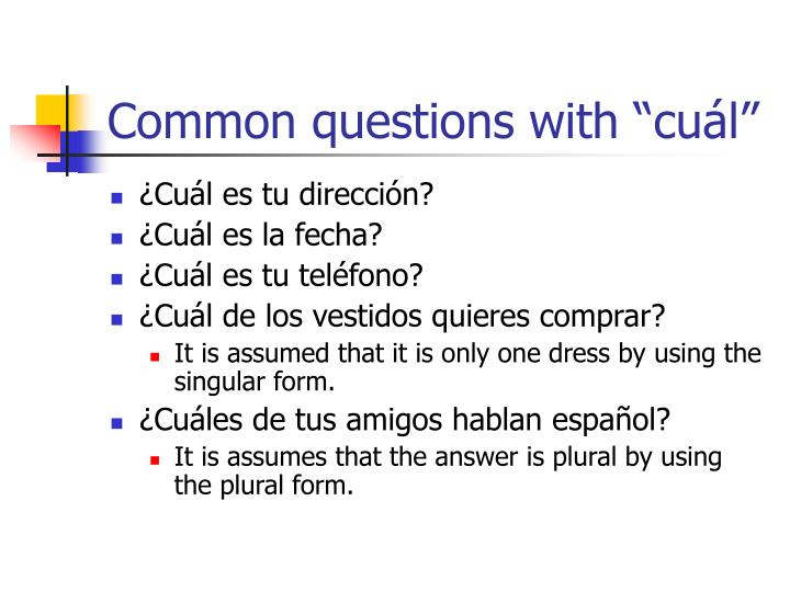 """Common questions with """"cuál"""""""