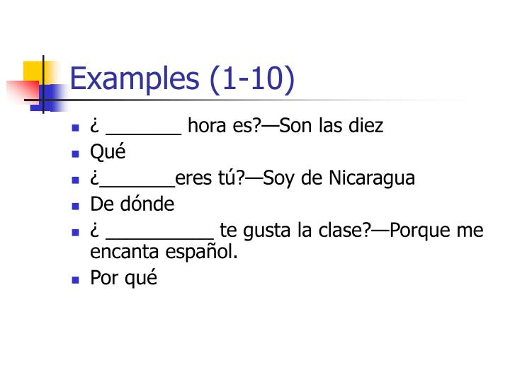 Examples (1-10)