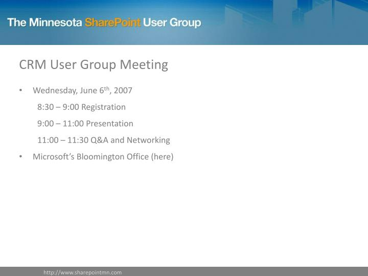 CRM User Group Meeting