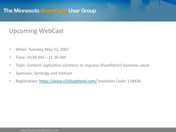 Upcoming WebCast