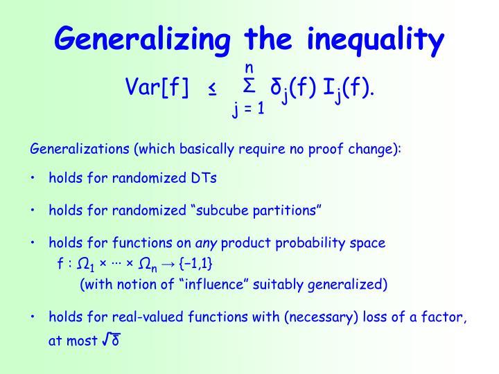 Generalizing the inequality