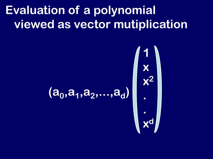 Evaluation of a polynomial