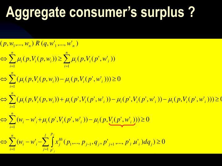 Aggregate consumer's surplus ?