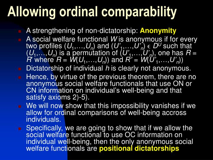 Allowing ordinal comparability