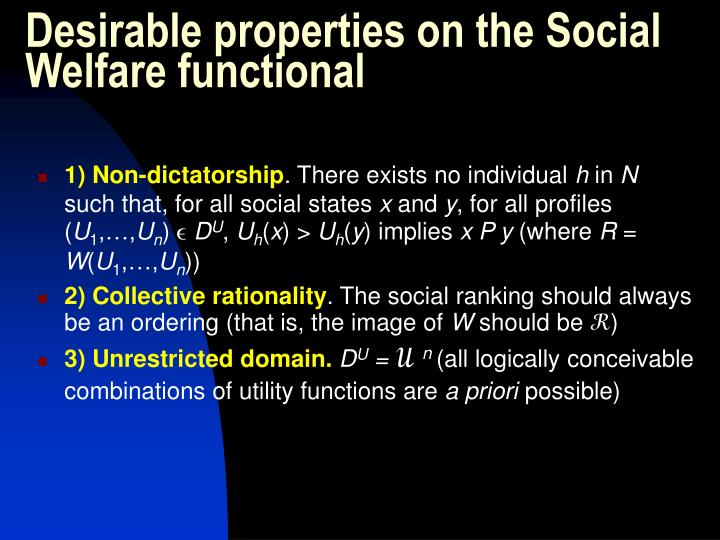Desirable properties on the Social Welfare functional