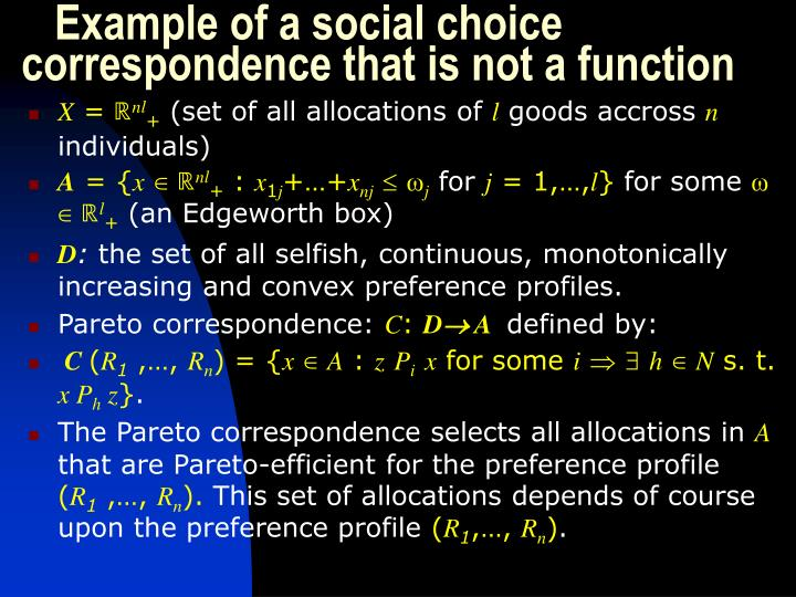 Example of a social choice correspondence that is not a function