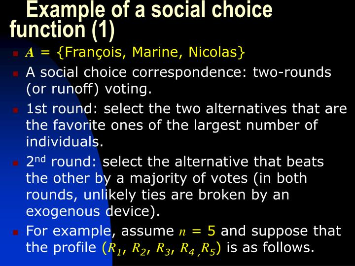 Example of a social choice function (1)
