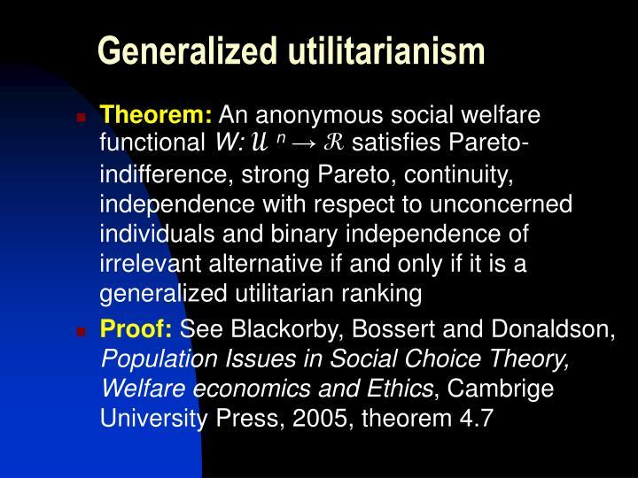 Generalized utilitarianism