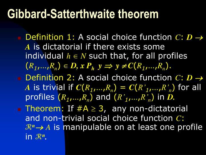 Gibbard-Satterthwaite theorem