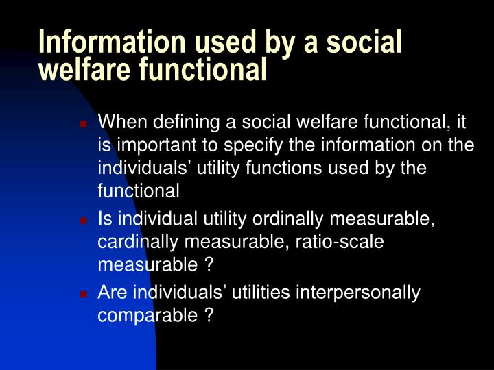 Information used by a social welfare functional