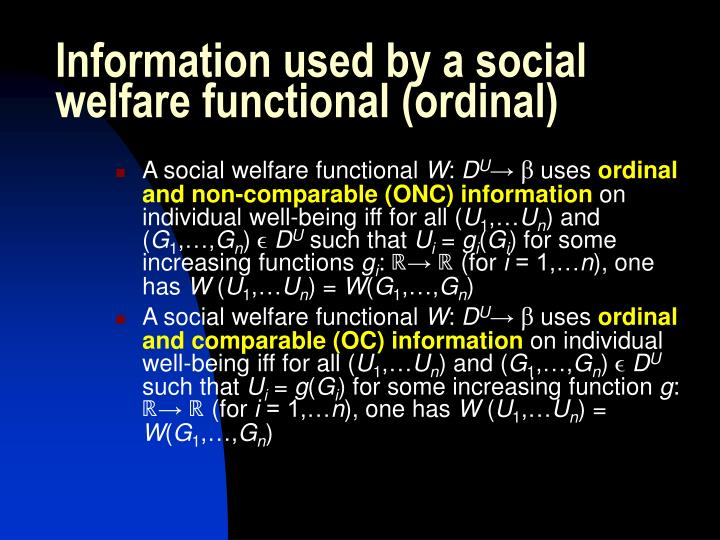 Information used by a social welfare functional (ordinal)