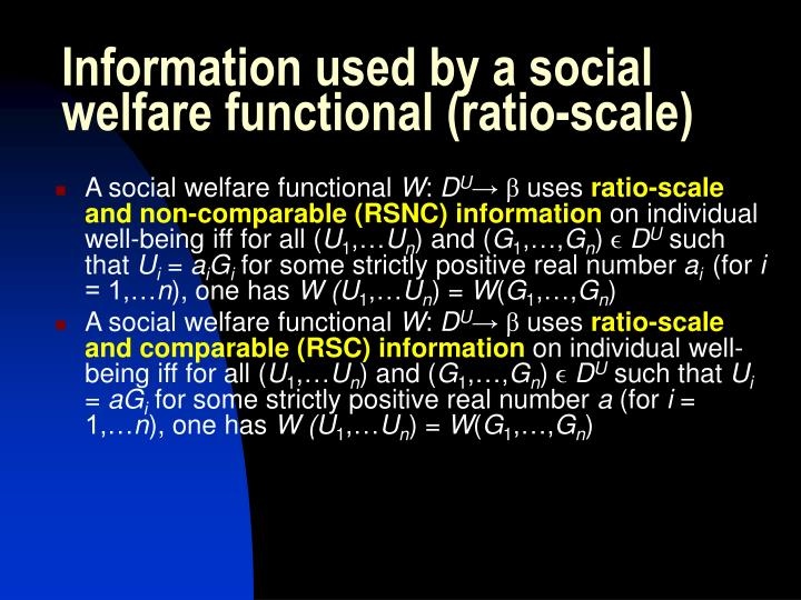 Information used by a social welfare functional (ratio-scale)