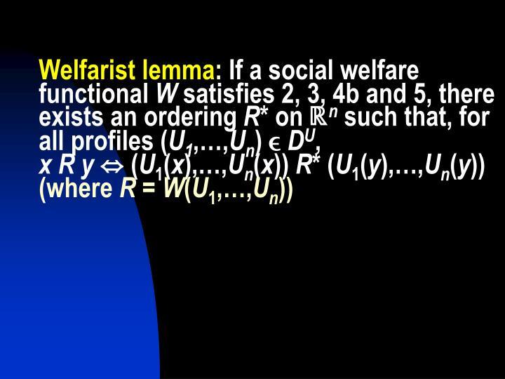 Welfarist lemma