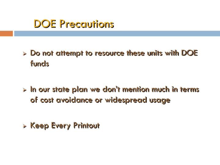 DOE Precautions