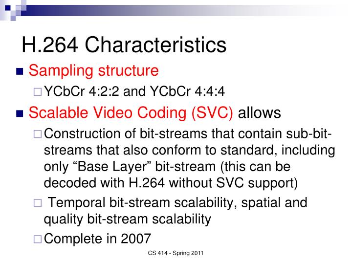 H.264 Characteristics